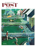 """Spring Yardwork"" Saturday Evening Post Cover, May 18, 1957 Giclee Print by Thornton Utz"