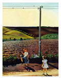"""Muddy Walk Home"", May 13, 1950 Giclee Print by John Falter"