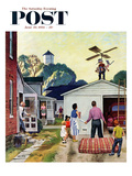 """Learning to Fly"" Saturday Evening Post Cover, June 20, 1953 Giclee Print by John Falter"