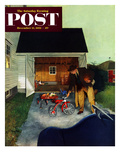 """""""Don't Block the Driveway"""" Saturday Evening Post Cover, December 12, 1953 Giclee Print by George Hughes"""