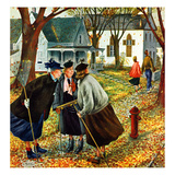 """Fall Gab Session"", November 7, 1953 Giclee Print by Constantin Alajalov"