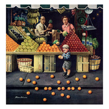 """Towddler and Oranges"", September 19, 1953 Giclee Print by Stevan Dohanos"
