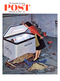 """Frosty in the Freezer"" Saturday Evening Post Cover, February 21, 1959 Giclee Print by John Falter"