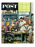 """Shop Class"" Saturday Evening Post Cover, March 19, 1955 Giclee Print by Stevan Dohanos"