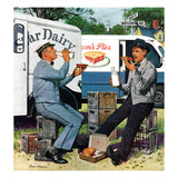 &quot;Milkman Meets Pieman&quot;, October 11, 1958 Giclee Print by Stevan Dohanos