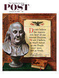 """""""Benjamin Franklin - Bust and Quote"""" Saturday Evening Post Cover, January 15, 1955 Giclee Print by John Atherton"""