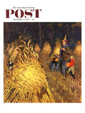 """Bring Home Pumpkins"" Saturday Evening Post Cover, November 1, 1952 Giclee Print by John Falter"
