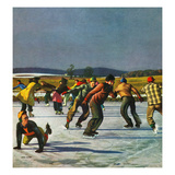 """Ice Skating on Pond"", January 26, 1952 Giclee Print by John Falter"