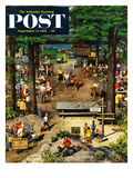 """Labor Day Picnic"" Saturday Evening Post Cover, September 11, 1954 Giclee Print by Stevan Dohanos"