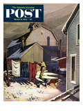 """Frozen Laundry"" Saturday Evening Post Cover, March 8, 1952 Giclee Print by Stevan Dohanos"