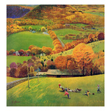 """Football in the Country"", October 8, 1955 Giclee Print by John Clymer"