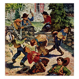 """""""Playing Cowboy"""", March 11, 1950 Giclée-Druck von Amos Sewell"""