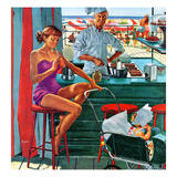 """""""Babysitter at Beach Stand"""", August 28, 1954 Giclee Print by George Hughes"""