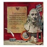 """Benjamin Franklin - Bust and Quote"", January 21, 1956 Giclee Print by Stanley Meltzoff"