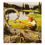 """Feeding Chipmunks"", May 16, 1953 Giclee Print by John Clymer"