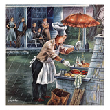 """Rainy Barbecue"", July 28, 1951 Giclee Print by Constantin Alajalov"