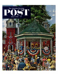 """""""Patriotic Band Concert"""" Saturday Evening Post Cover, July 7, 1951 Reproduction procédé giclée par Stevan Dohanos"""