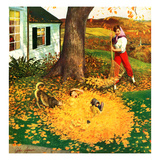 """Leaf Pile"", October 16, 1954 Giclee Print by John Clymer"