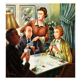 """Bridge Game"", October 14, 1950 Giclee Print by Constantin Alajalov"