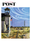 """Endl of Recess"" Saturday Evening Post Cover, October 17, 1953 Giclee Print by John Falter"