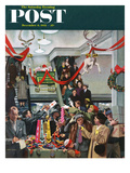 """Department Store at Christmas"" Saturday Evening Post Cover, December 6, 1952 Giclee Print by John Falter"