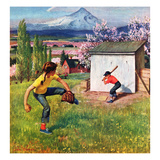"""Oregon Baseball"", April 21, 1951 Giclée-Druck von John Clymer"