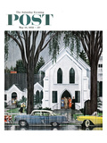 """Sunday Rain"" Saturday Evening Post Cover, May 24, 1958 Giclee Print by E. Melbourne Brindle"