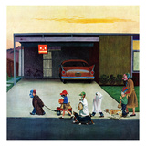 """Trick-Or-Treating in the Burbs"", November 1, 1958 Giclee Print by John Falter"