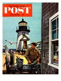 """Lighthouse Keeper"" Saturday Evening Post Cover, June 26, 1954 Giclee Print by Stevan Dohanos"