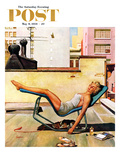 """Up On the Roof"" Saturday Evening Post Cover, May 9, 1959 Giclee Print by George Hughes"
