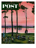 """Evening Picnic"" Saturday Evening Post Cover, August 18, 1951 Giclee Print by John Falter"