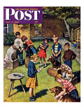 """Backyard Dog Show"" Saturday Evening Post Cover, July 8, 1950 Giclee Print by Amos Sewell"