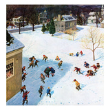 """Snowball Recess"", February 4, 1956 Giclee Print by John Clymer"