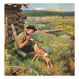 """Feeding Fawn Near Flowering Field"", May 27, 1950 Giclee Print by John Clymer"