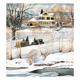 """Bringing Home the Tree"", December 21, 1957 Giclee Print by John Clymer"