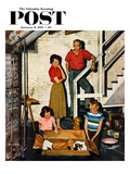 """Kittens in the Basement"" Saturday Evening Post Cover, January 8, 1955 Giclee Print by John Falter"