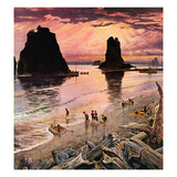 """Pacific Ocean Sunset"", July 27, 1957 Giclee Print by John Clymer"