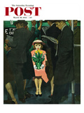 &quot;Subway Girl and Easter Lily&quot; Saturday Evening Post Cover, March 28, 1953 Reproduction proc&#233;d&#233; gicl&#233;e par George Hughes
