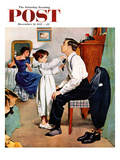 """""""Fixing Father's Tie"""" Saturday Evening Post Cover, December 31, 1955 Giclee Print by George Hughes"""