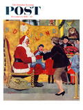 """Crying on Santa's Lap"" Saturday Evening Post Cover, December 6, 1958 Giclee Print by George Hughes"