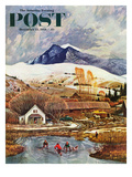 """""""Ice Hockey on Mountain Pond"""" Saturday Evening Post Cover, December 13, 1958 Giclee Print by John Clymer"""