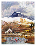 """Ice Hockey on Mountain Pond"", December 13, 1958 Giclee Print by John Clymer"