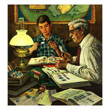 """Stamp Collecting"", February 27, 1954 Giclee Print by Stevan Dohanos"