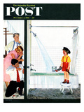"""""""Overflowing Tub"""" Saturday Evening Post Cover, December 3, 1955 Giclee Print by John Falter"""