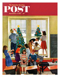 """Classroom Christmas"" Saturday Evening Post Cover, December 8, 1951 Giclee Print by John Falter"
