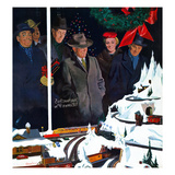 """Christmas Train Set"", December 15, 1956 Giclee Print by George Hughes"