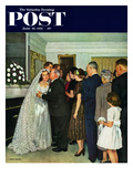 """Receptions Line"" Saturday Evening Post Cover, June 16, 1951 Giclee Print by John Falter"