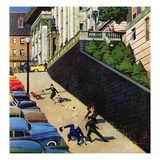"""Spilled Purse on Steep Hill"", March 26, 1955 Giclee Print by John Falter"