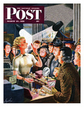 """Makeup Counter"" Saturday Evening Post Cover, March 10, 1951 Giclee Print by Constantin Alajalov"