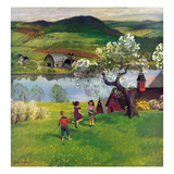 """Jumping Rope Under the Apple Tree"", April 25, 1953 Giclee Print by John Clymer"